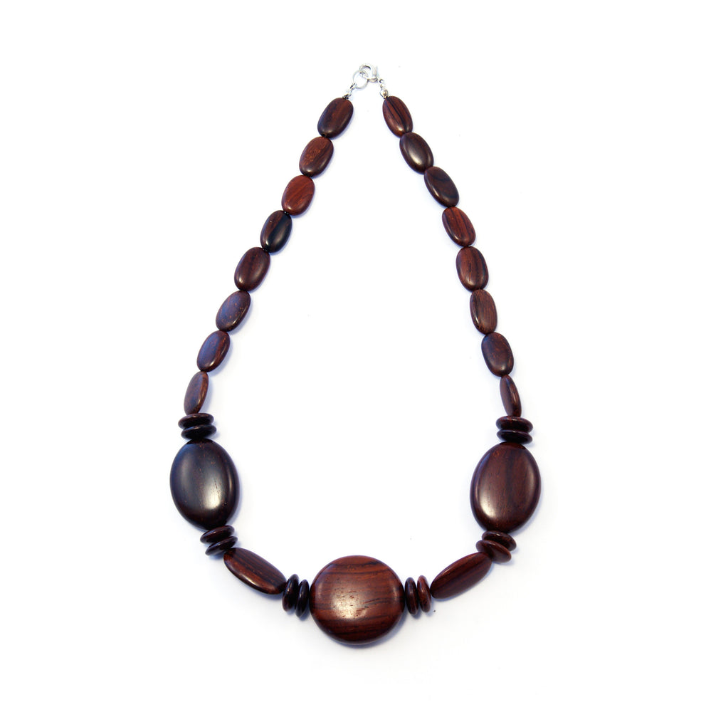 TICA SURF Unique exotic wood necklace - Dark round oval - EE3241