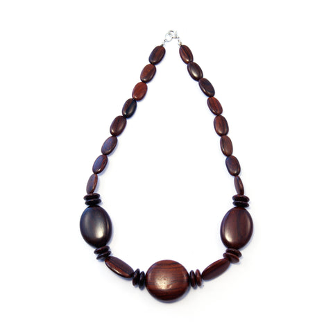 TICA SURF Unique exotic wood necklace - Dark round oval
