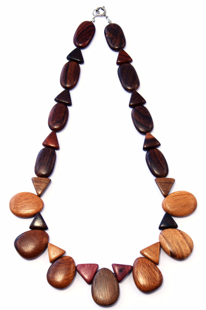 TICA SURF Unique exotic wood necklace - Playful Teardrops - EE3247 - TicaSurf USA