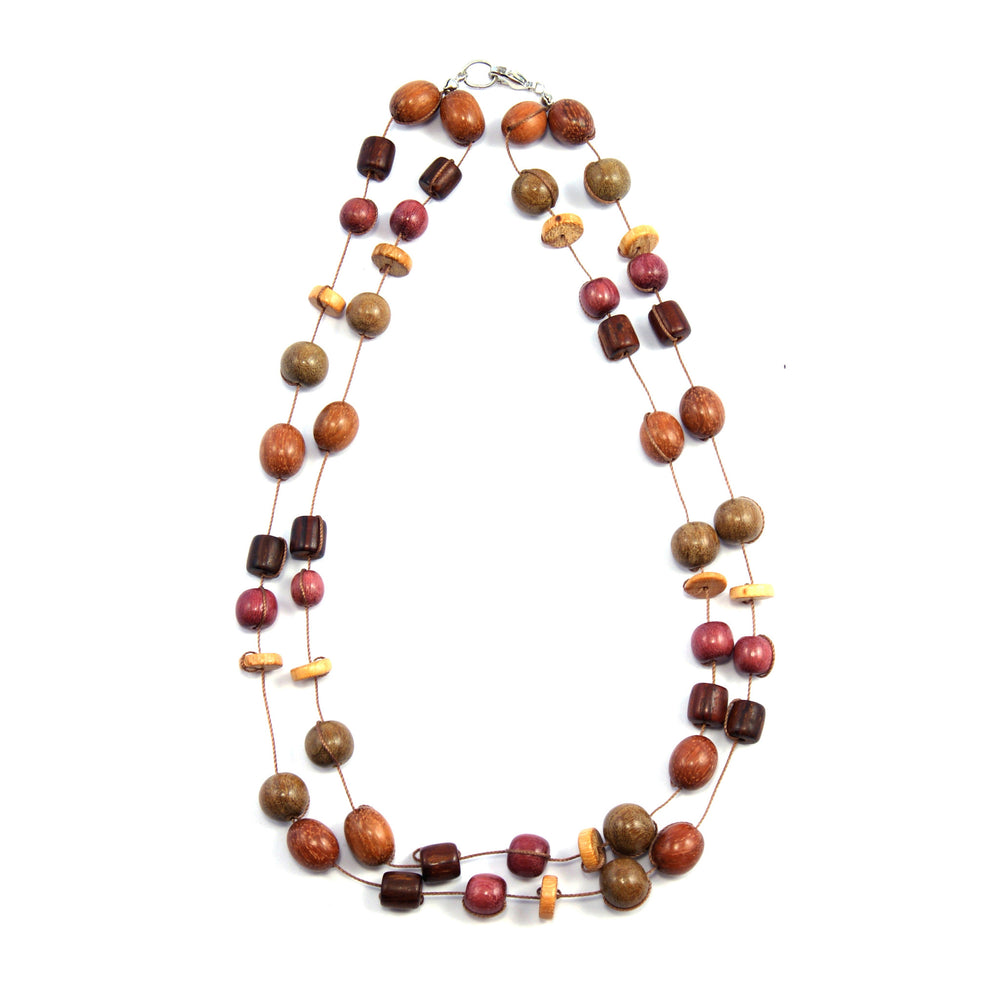 TICA SURF Unique exotic wood necklace - Double string multi beads - EE327 - TicaSurf USA