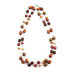 TICA SURF Unique exotic wood necklace - Double string multi beads - EE327