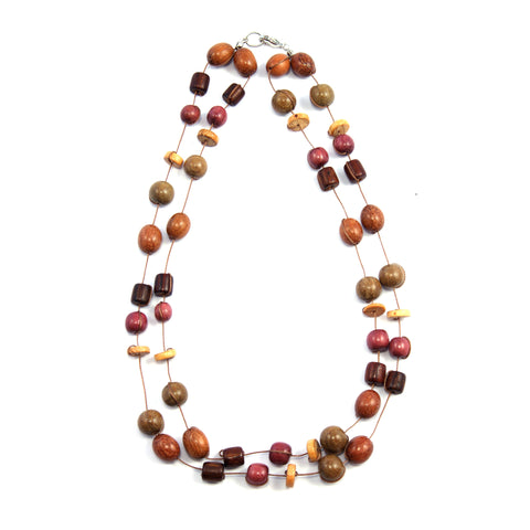 TICA SURF Unique exotic wood necklace - Double string multi beads