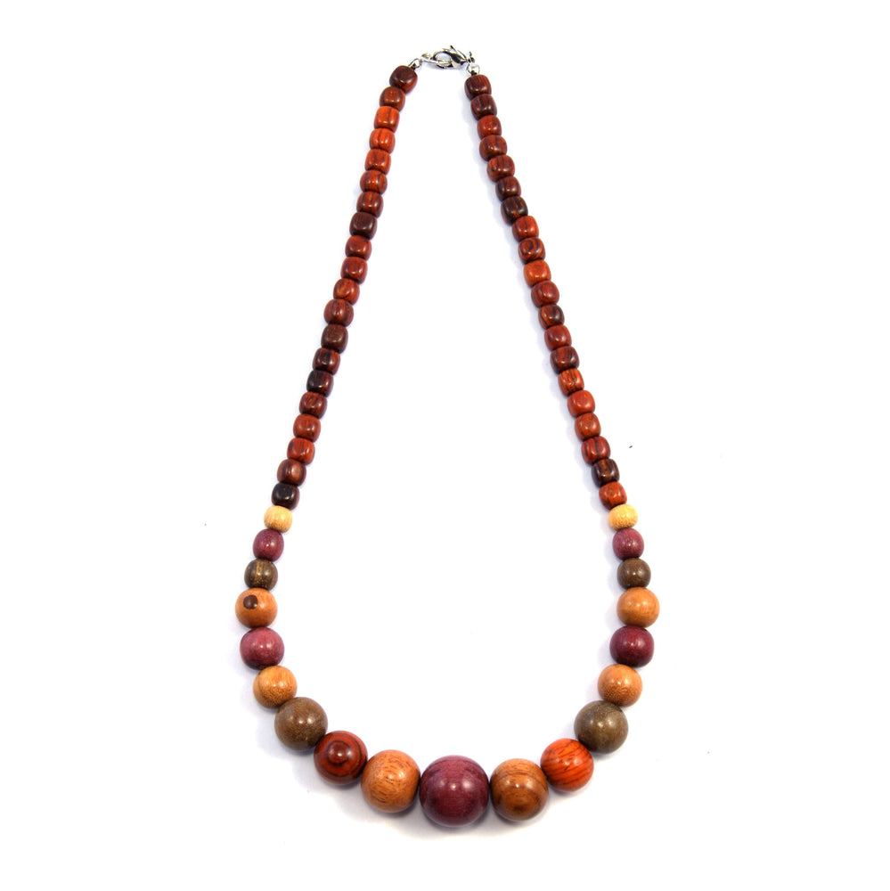 TICA SURF Unique exotic wood necklace - Multicolor beads gradual - EE340 - TicaSurf USA