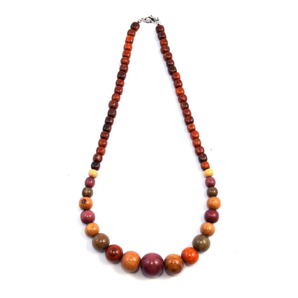 TICA SURF Unique exotic wood necklace - Multicolor beads gradual