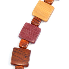 TICA SURF Unique exotic wood necklace - Multi Squares - EE366
