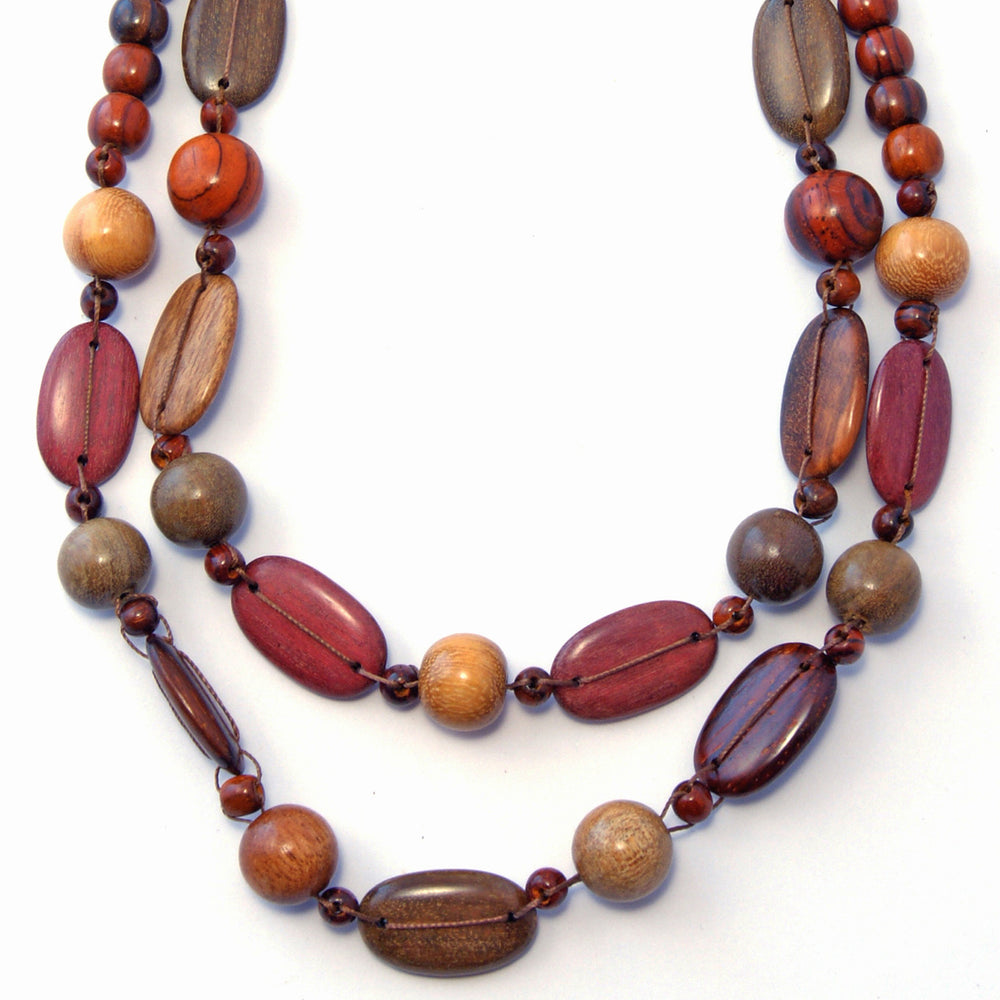 TICA SURF Unique tribal exotic wood necklace - Double oval beads - EE4108 - TicaSurf USA
