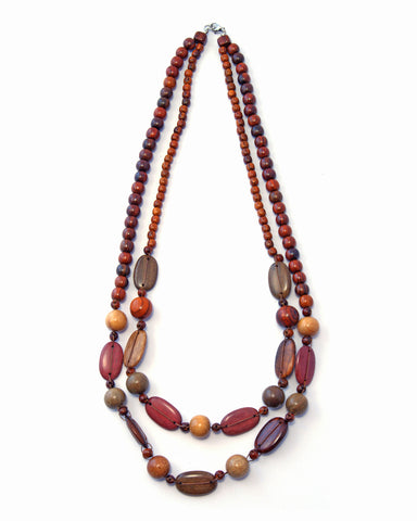 TICA SURF Unique tribal exotic wood necklace - Double oval beads