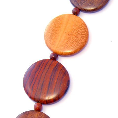 TICA SURF Unique tribal exotic wood necklace - XL Rounds - EE4115