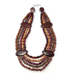 TICA SURF Unique tribal exotic wood necklace - Multi Beads - EE4131