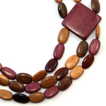 TICA SURF Unique tribal exotic wood necklace - Triple oval beads side square - EE4137 - TicaSurf USA