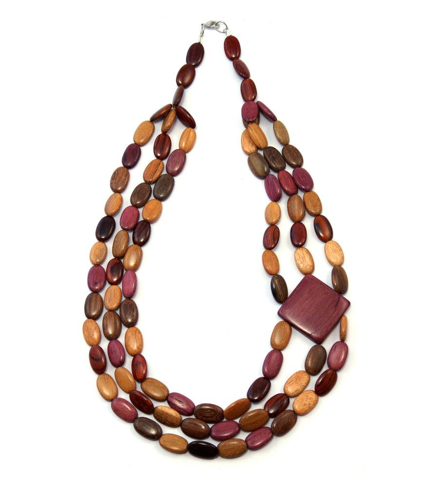 TICA SURF Unique tribal exotic wood necklace - Triple oval beads side square - EE4137
