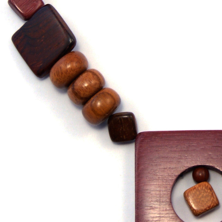 TICA SURF Unique tribal exotic wood necklace - Square Pendant - EE4139 - TicaSurf USA