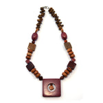 TICA SURF Unique tribal exotic wood necklace - Square Pendant - EE4139