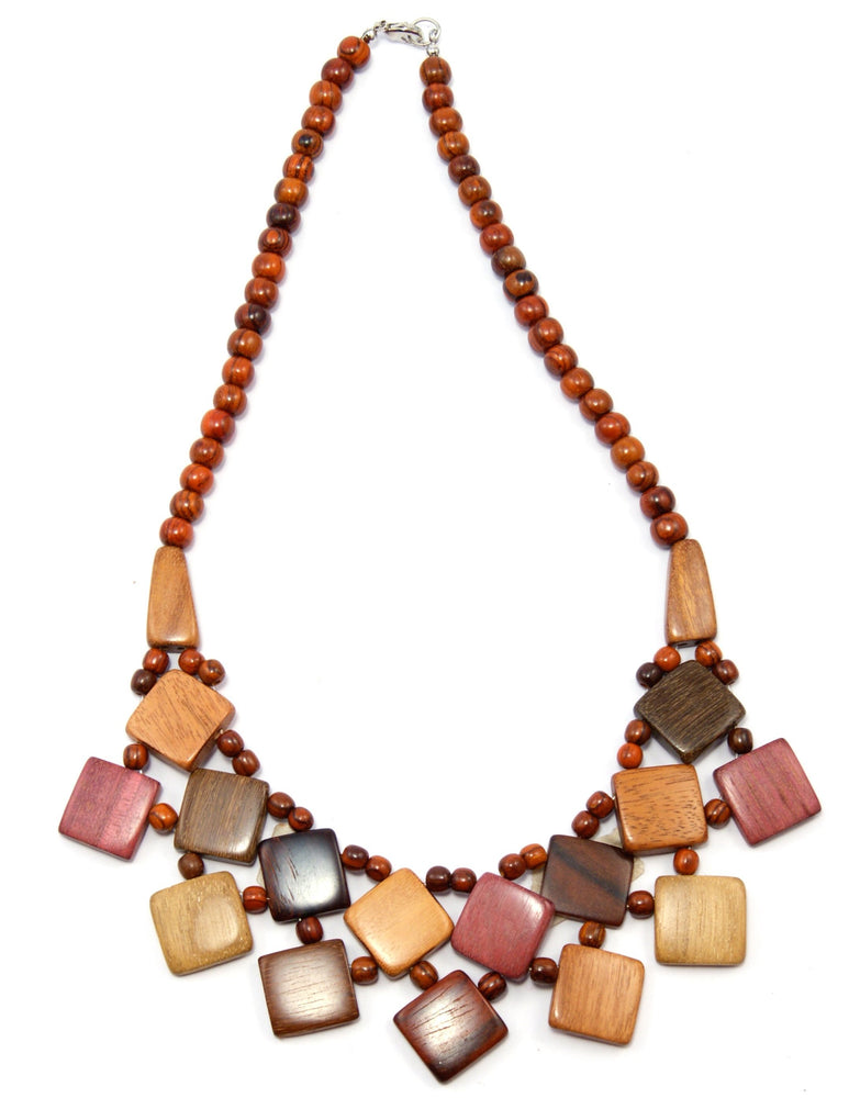 TICA SURF Unique tribal exotic wood necklace - Fancy Squares - EE4148