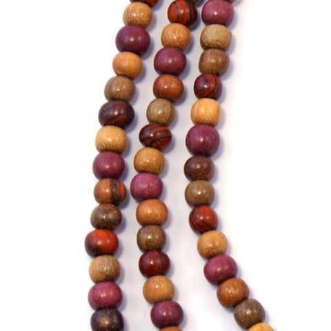 TICA SURF Unique tribal exotic wood necklace - Extra long multicolor beads