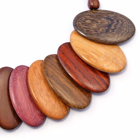 TICA SURF Unique tribal exotic wood necklace - Multicolor Oval Over - EE435