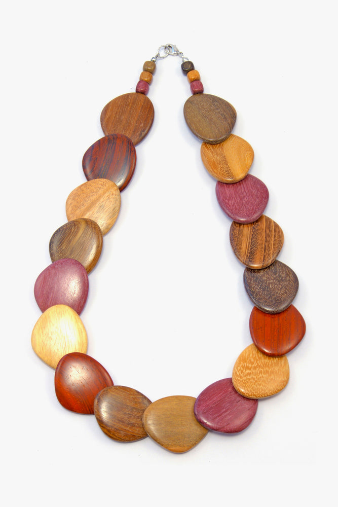 TICA SURF Unique tribal exotic wood necklace - Offset Ovals - EE439 - TicaSurf USA