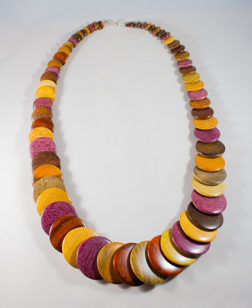 TICA SURF Unique tribal exotic wood necklace - Multicolor Rounds - EE440