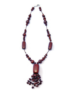 TICA SURF Unique tribal exotic wood necklace - Rain Multicolor Pendant - EE494