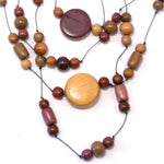TICA SURF Unique fancy exotic wood necklace - Multistrings Beads Rounds - EE534 - TicaSurf USA