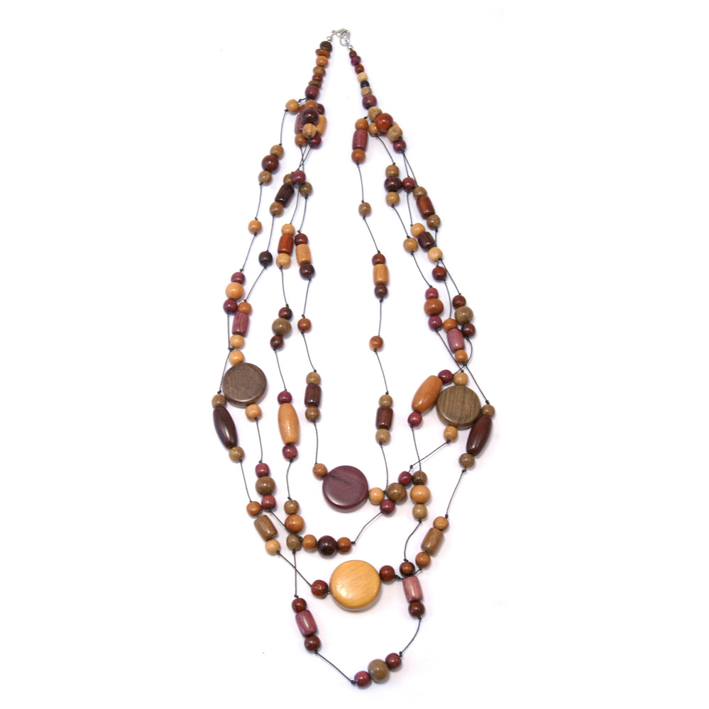 TICA SURF Unique fancy exotic wood necklace - Multistrings Beads Rounds - EE534