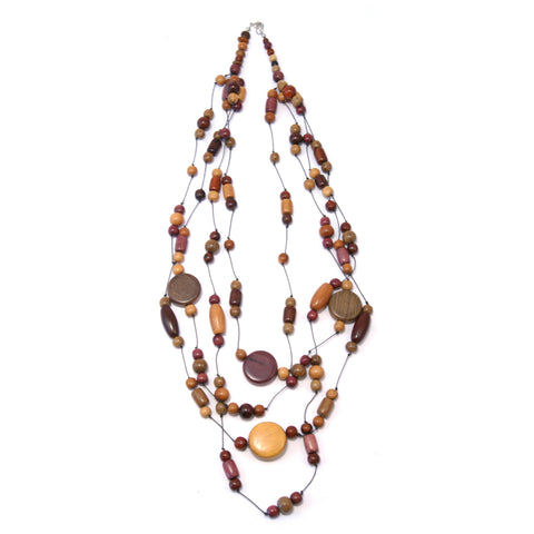 TICA SURF Unique fancy exotic wood necklace - Multistrings beads rounds