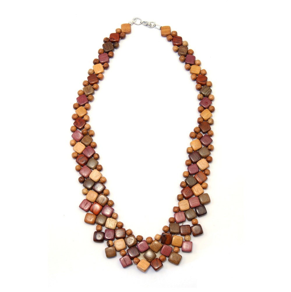 TICA SURF Unique fancy exotic wood necklace - Light Multicolor Mini Squares - EE544 - TicaSurf USA