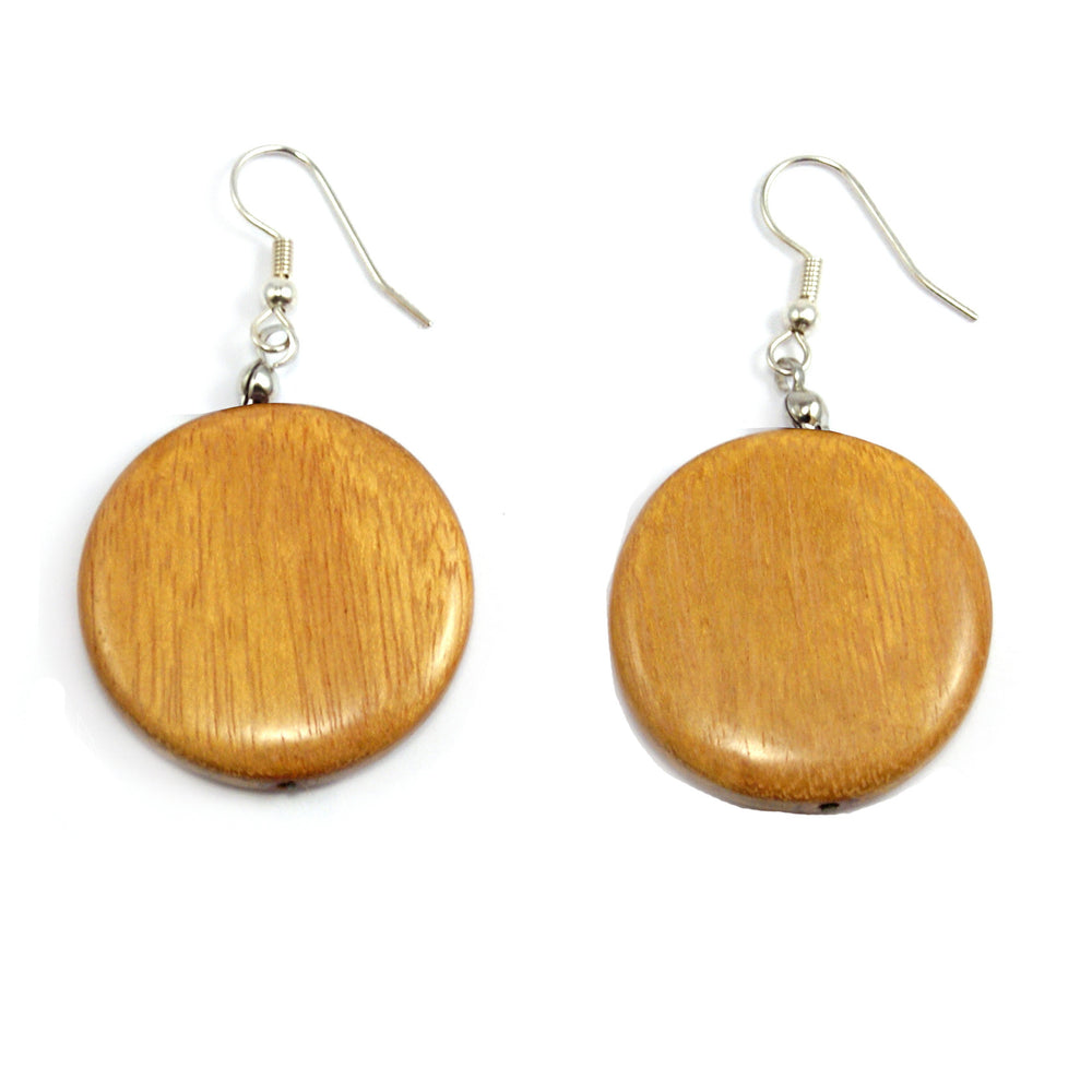 TICA SURF Unique exotic wood pendant earrings - Flat Rounds - EE1000 - TicaSurf USA
