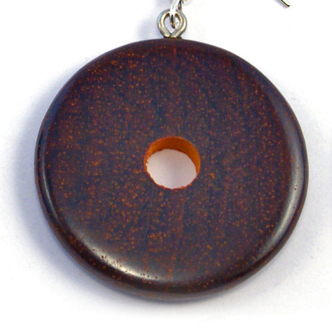 TICA SURF Unique exotic wood pendant earrings - Dark Wheels
