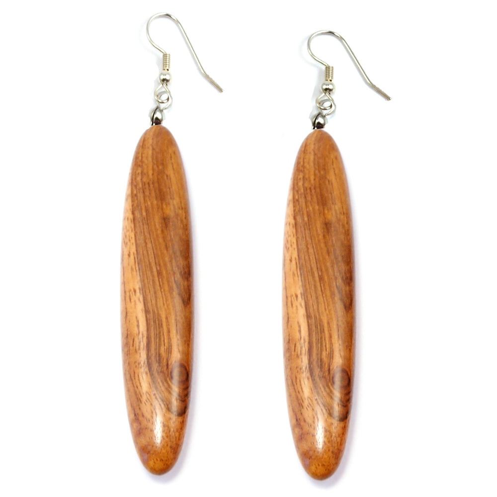 TICA SURF Unique exotic wood pendant earrings - Tribal Bar M - EE1008 - TicaSurf USA