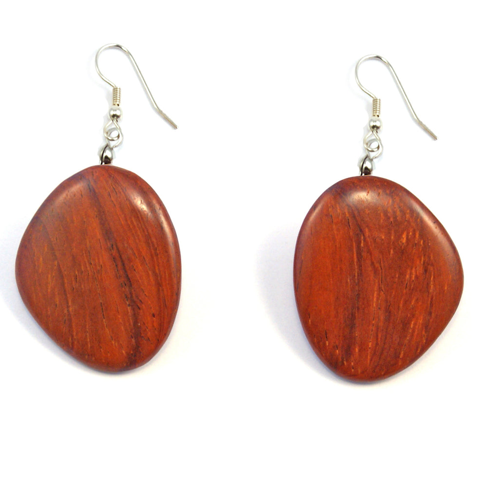 TICA SURF Unique exotic wood pendant earrings - Ovalish - EE1010
