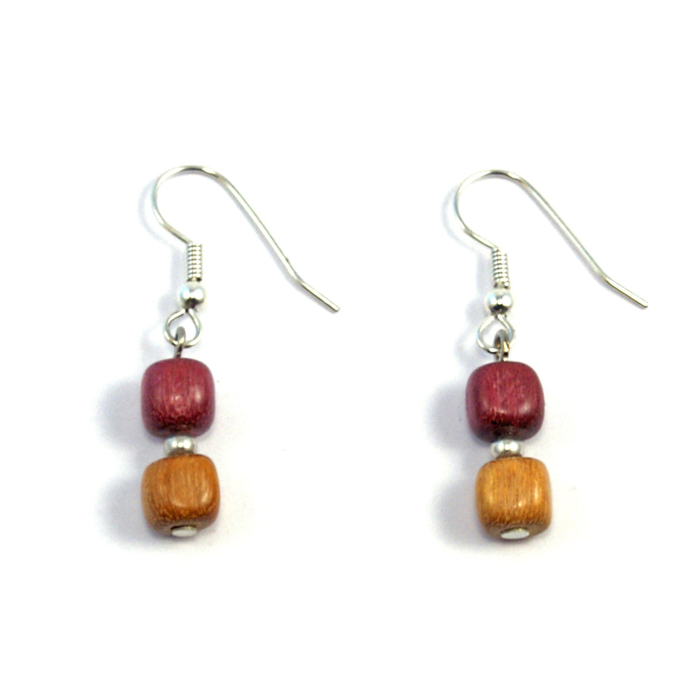 TICA SURF Unique exotic wood pendant earrings - Double Square Beads - EE1017