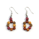 TICA SURF Unique exotic wood pendant earrings - Microbeads Multicolor Rounds - EE1030