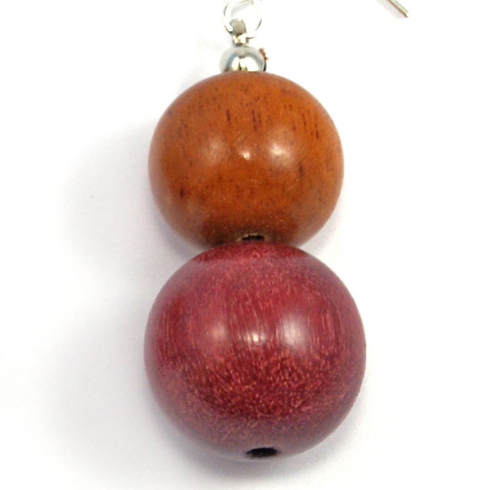 TICA SURF Unique exotic wood pendant earrings - Large Double Beads - EE1034 - TicaSurf USA