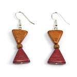 TICA SURF Unique exotic wood pendant earrings - Sandclock - EE1040