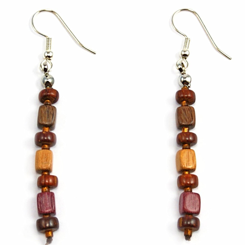 TICA SURF Unique exotic wood pendant earrings - Mini Beads Bars - EE1041 - TicaSurf USA