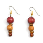 TICA SURF Unique exotic wood pendant earrings - Tiered Spheres- EE1042