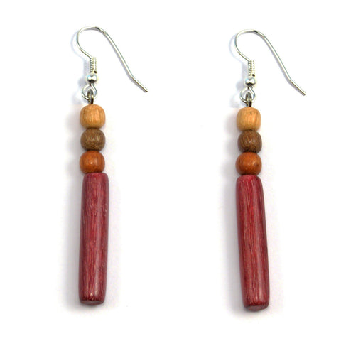 TICA SURF Unique exotic wood pendant earrings - Multicolor Microbeads Bar - EE1051