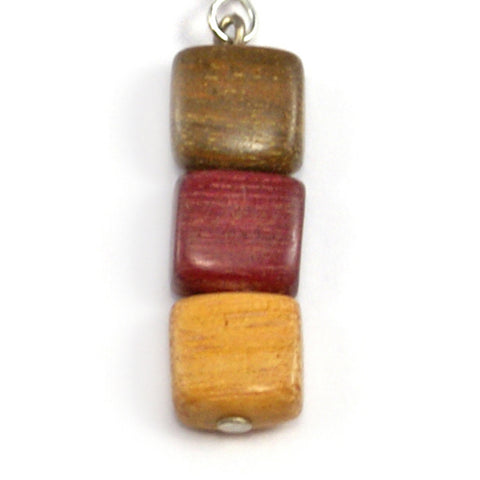 TICA SURF Unique exotic wood pendant earrings - Multicolor cubic beads