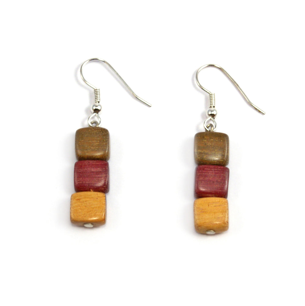 TICA SURF Unique exotic wood pendant earrings - Multicolor Cubic Beads - EE1055