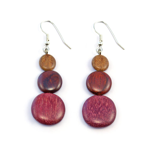 TICA SURF Unique exotic wood pendant earrings - Multicolor triple rounds