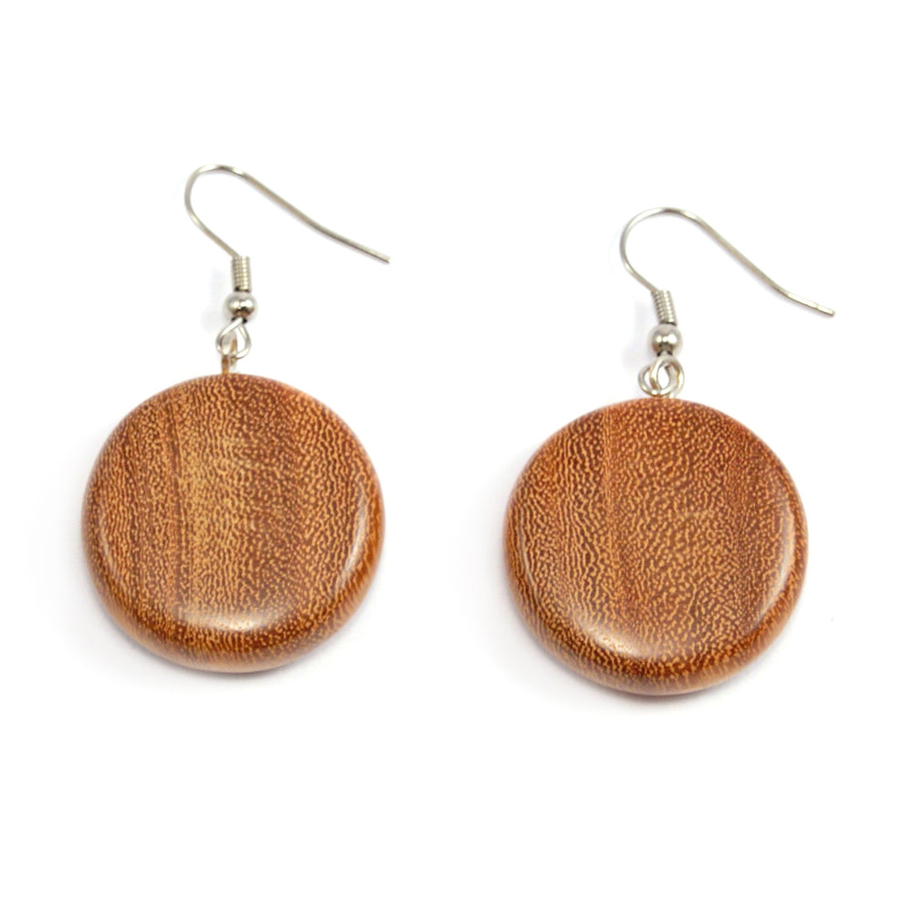 TICA SURF Unique exotic wood pendant earrings - Medium Disc - EE1071