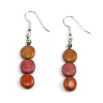 TICA SURF Unique exotic wood pendant earrings - Small Triple Disc - EE1074