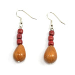 TICA SURF Unique exotic wood pendant earrings - Tear Drop beads - EE1075