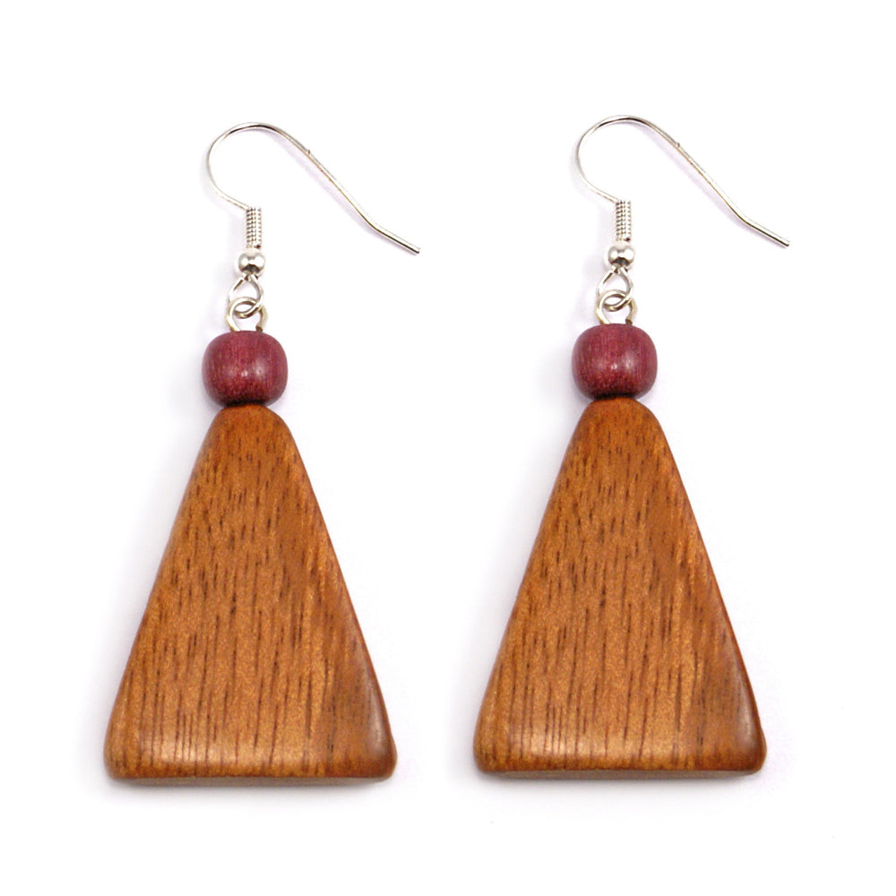 TICA SURF Unique exotic wood pendant earrings - Triangle pendant - EE1080