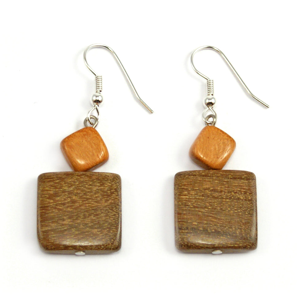 TICA SURF Unique exotic wood pendant earrings - Squares - EE1081