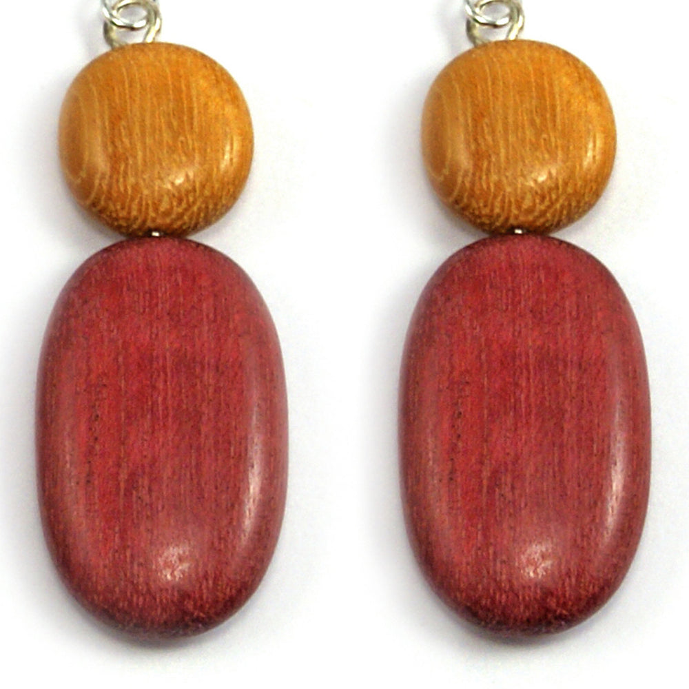 TICA SURF Unique exotic wood pendant earrings - Light Round Oval - EE1087 - TicaSurf USA