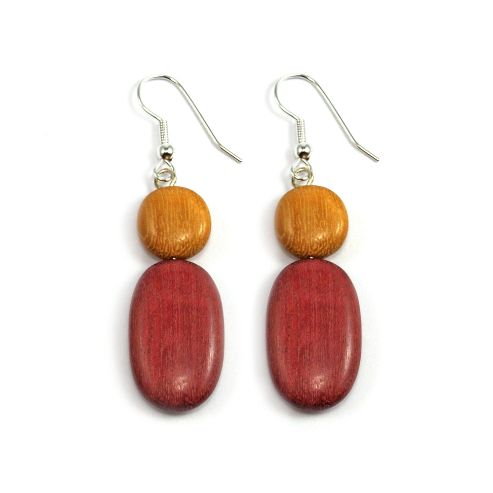 TICA SURF Unique exotic wood pendant earrings - Light Round Oval - EE1087