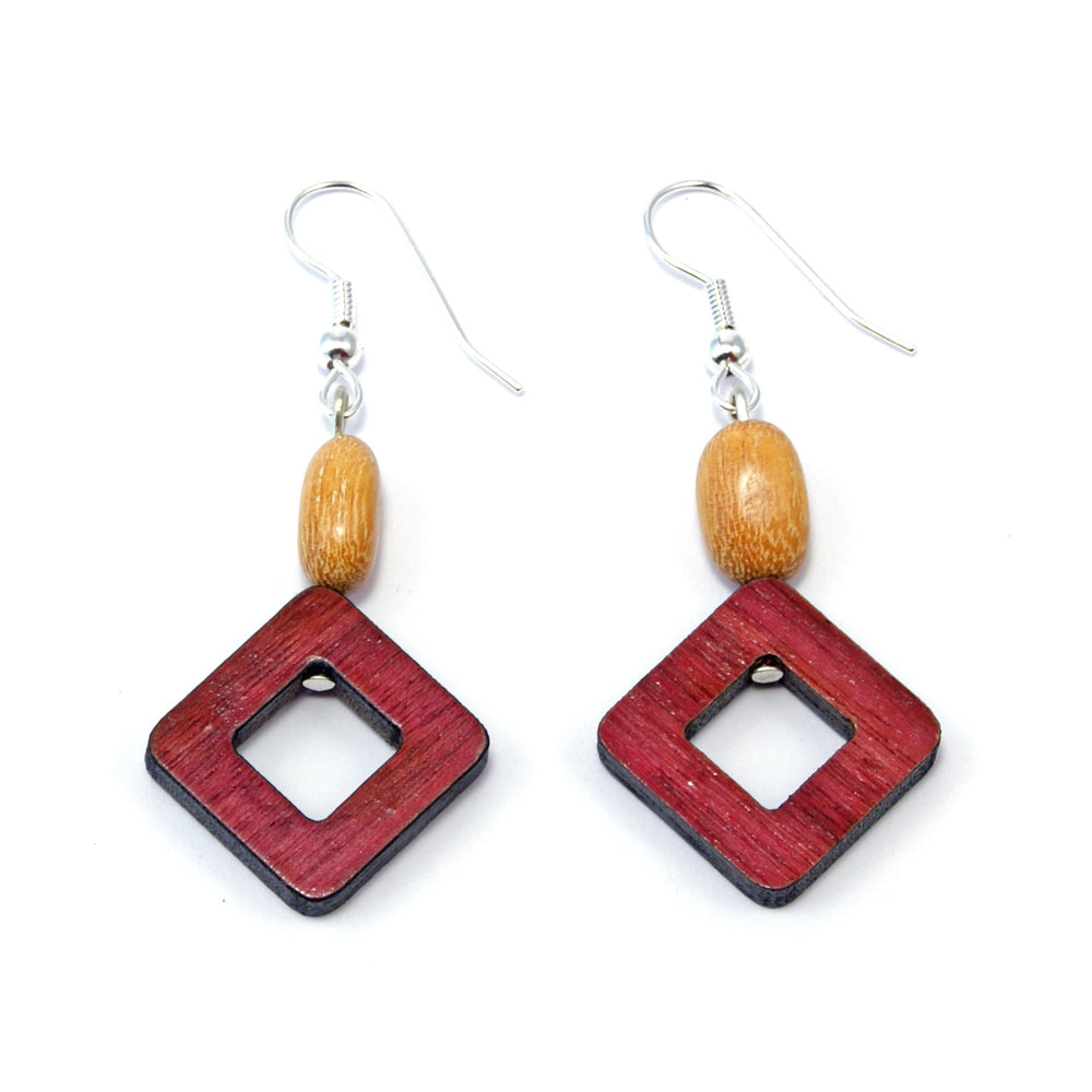TICA SURF Unique exotic wood pendant earrings - Square Frame - EE1088
