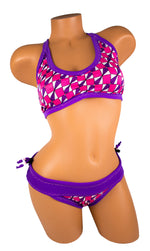 Tica Surf Double Cross Back Rouched Top Bikini Bottom L - TS11